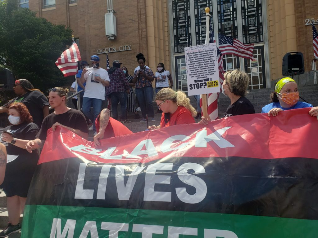 A Black Lives Matter protest takes place on the steps of the Weber Municipal Building in Ogden, Utah on May 30. (Francia