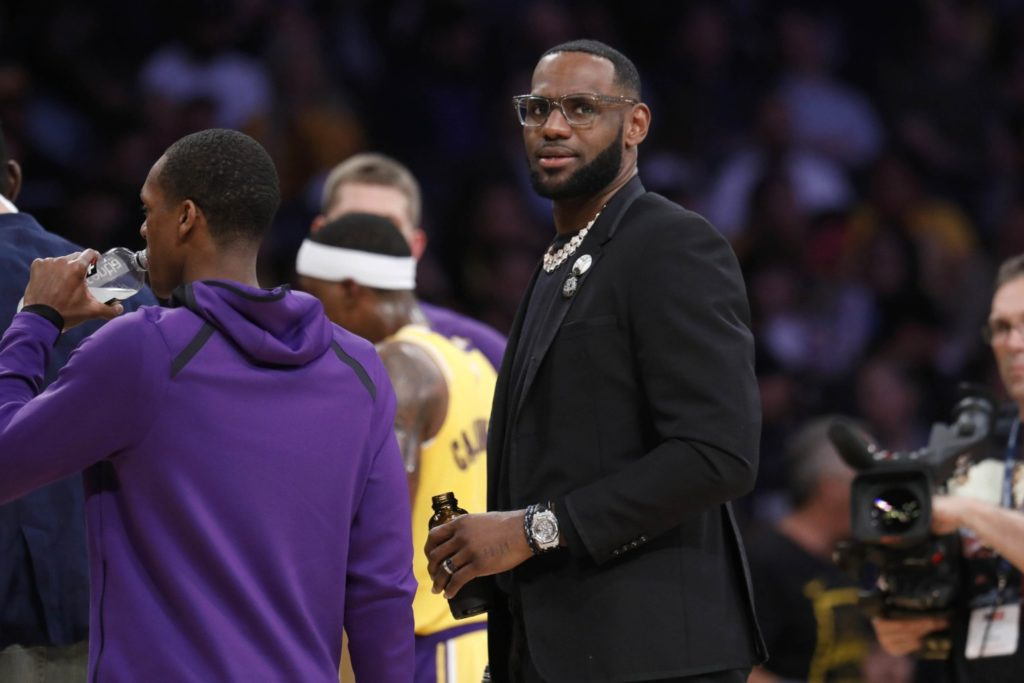 Los Angeles Lakers forward LeBron James in the first half at the Staples Center in Los Angeles, Calif., on April 9, 2019. (Gary Coronado / Los Angeles Times)
