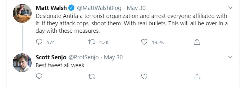 One of the replies from the Twitter user @ProfSenjo, and presumed account of WSU Criminal Justice Professor Scott Senjo, that have caused calls for the professor to be fired across social media.