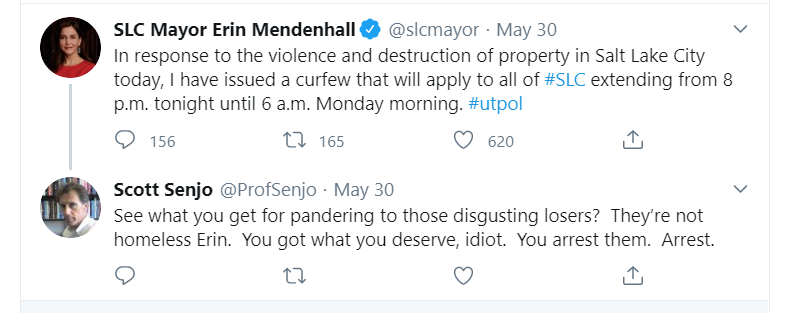 One of the Twitter replies by Professor Scott Senjo that have caused his resignation on June 3.  Screenshot taken 12:37 a.m. on June 1. (Twitter).