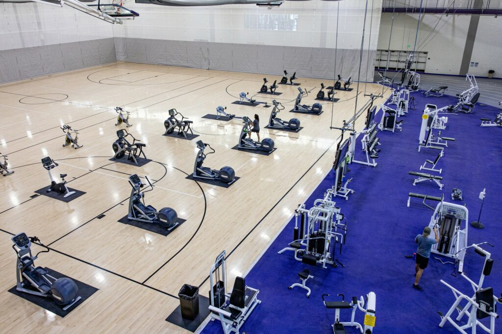 Exercise equipment is spread out for students to use at the Wildcat Center for Health Education and Wellness. (Robert Lewis / The Signpost)