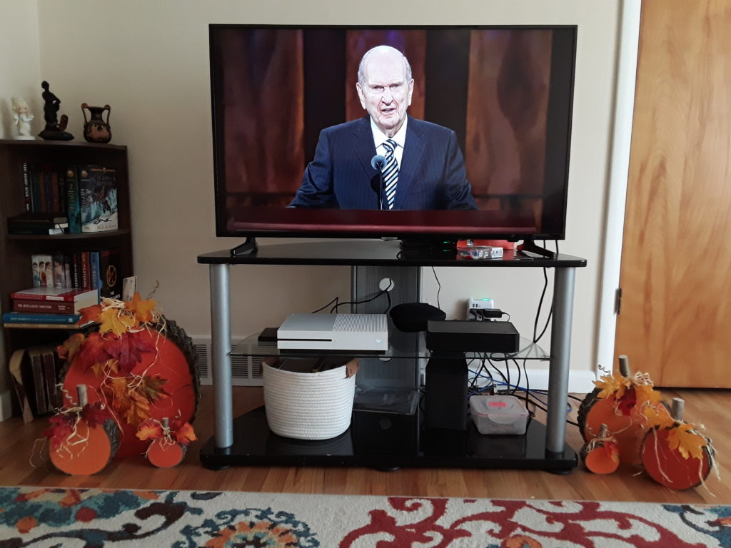 President Russell M. Nelson speaks during the Sunday afternoon session of General Conference on Oct. 4, which was available on several platforms from home.