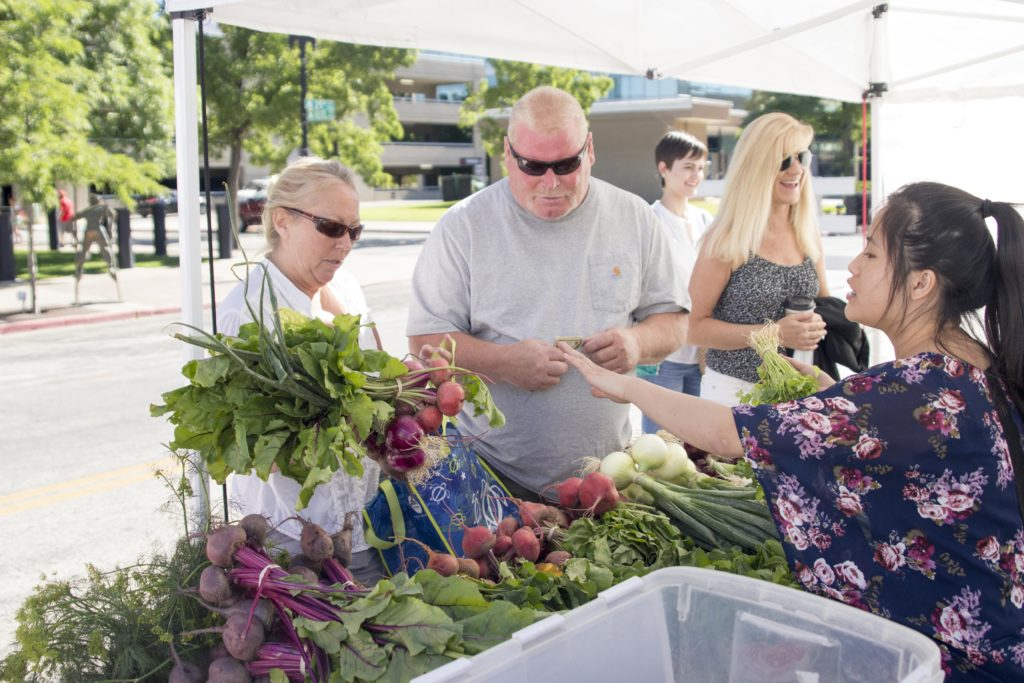 Many people attended the Ogden Farmers Market. (Dalton Flandro / The Signpost)