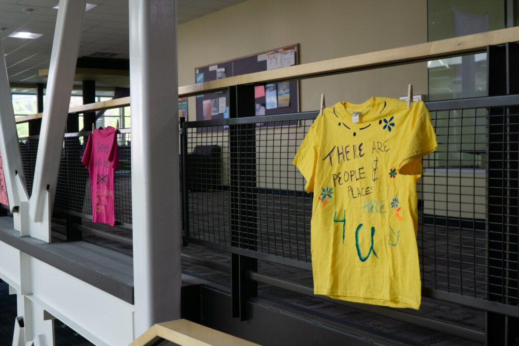 The Clothesline Project is an event held on campus while adhering to the new COVID restrictions. (Israel Campa/The Signpost)