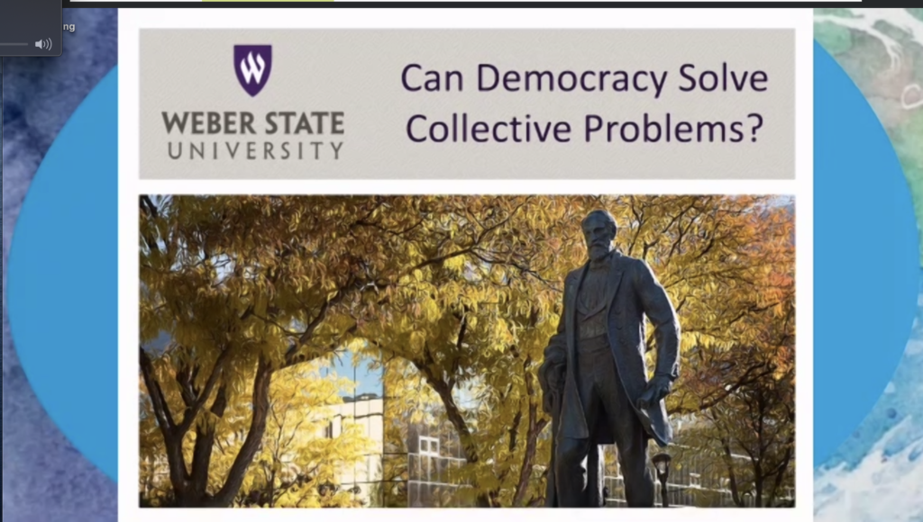 """Dr. Leah Murray presented """"Can Democracy Solve Collective Problems?"""" for Voter Education Week as part of the Climate Change and Culture Shift series"""