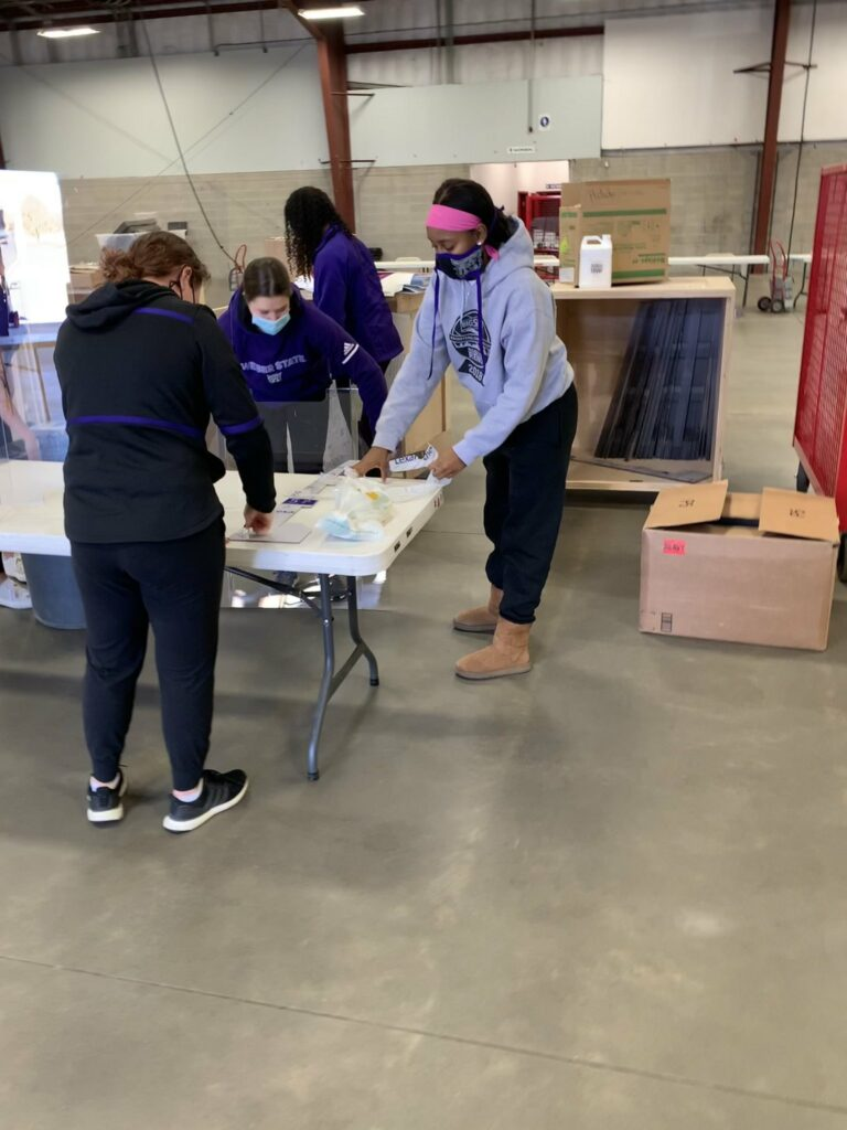 WSU Athletics set up the voting booths at the Weber County Fairgrounds and helped facilitate the voting process on Election Day.
