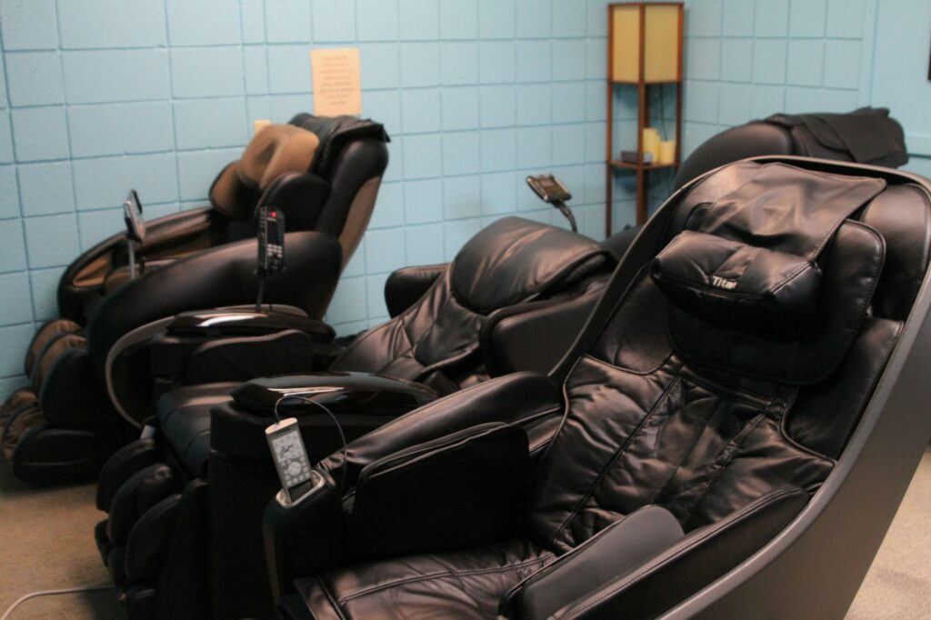 Massage chairs in the Stress Relief Center at the Swenson Gym. (Sara Parker / The Signpost)