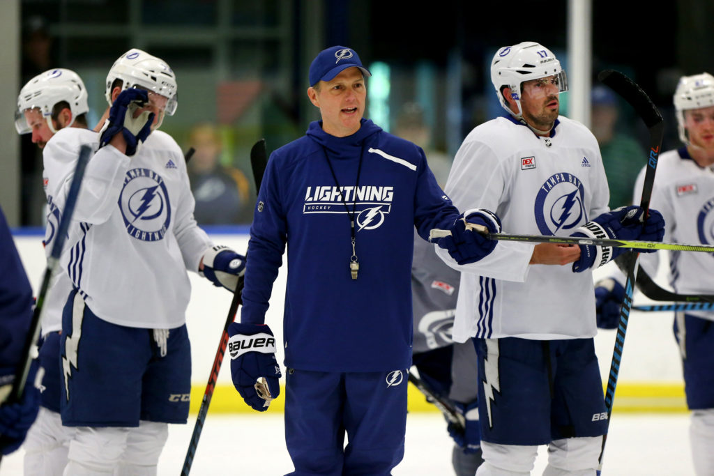 Tampa Bay Lightning head coach Jon Cooper supervises a training camp practice session at the Ice Sports Forum in Brandon, Fla., on September 14, 2018. Cooper's Lightning were unable to hold a third-period lead on Saturday, Nov. 10, 2018, dropping a 6-4 contest against the Ottawa Senators. (Douglas R. Clifford/Tampa Bay Times/TNS)
