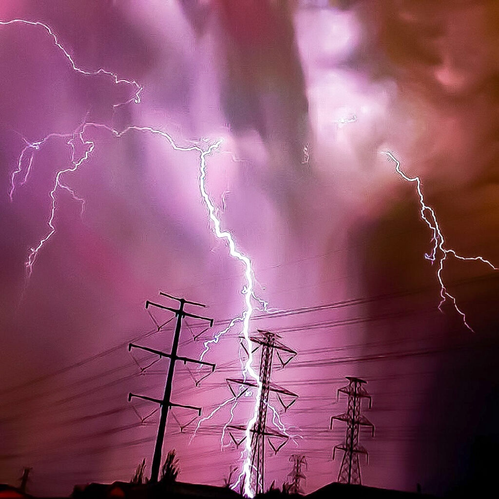During one of the only storms of the Summer of 2020, this lightning strike hit a power line, cutting power to many residents in the area.  (Nikki Dorber / The Signpost)