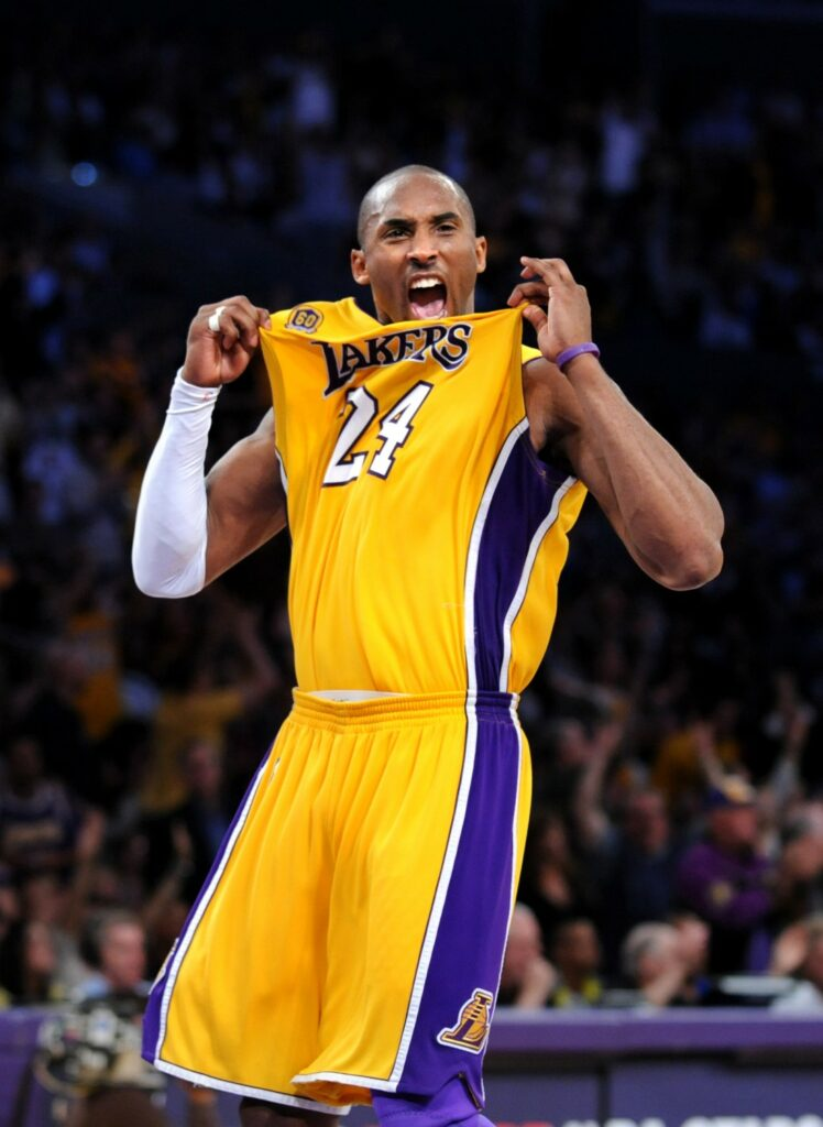 LOS ANGELES, CALIFORNIA; APR. 24, 2008-Lakers' Kobe Bryant celebrating during the playoffs in 2008 at the Staples Center. (Wally Skalij/Los Angeles Times)