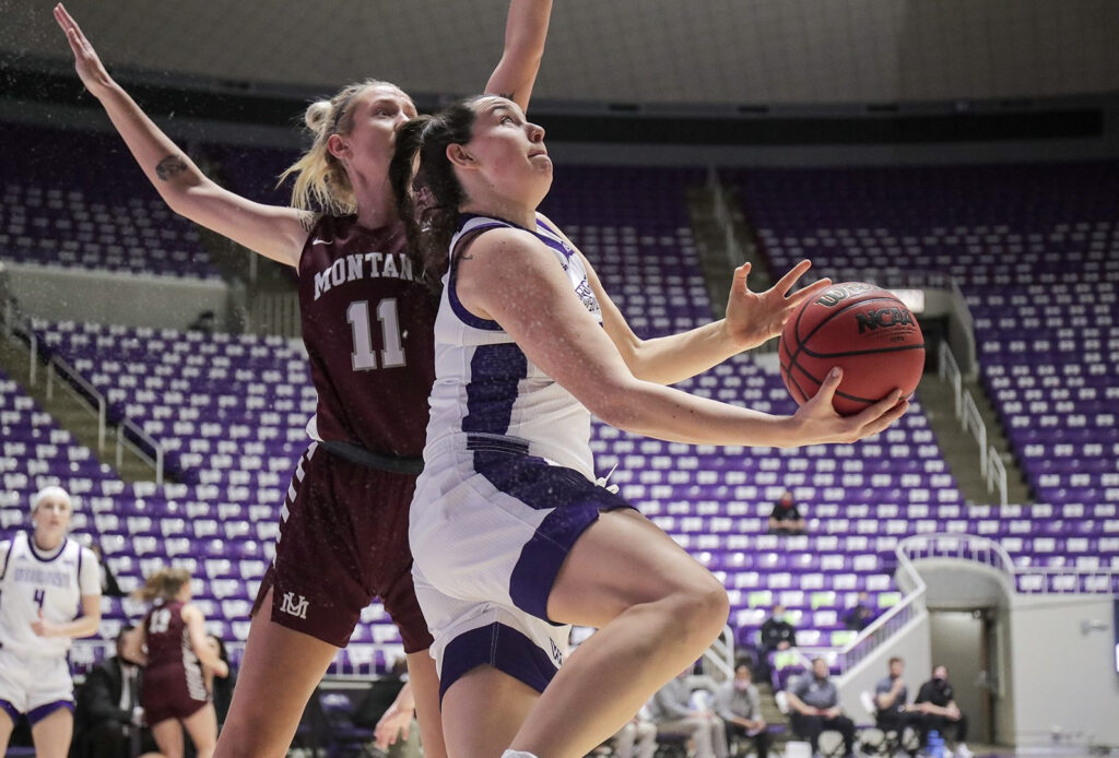 Vicky Parra, 20, takes a shot during the Feb. 11 game against the Montana Grizzlies.