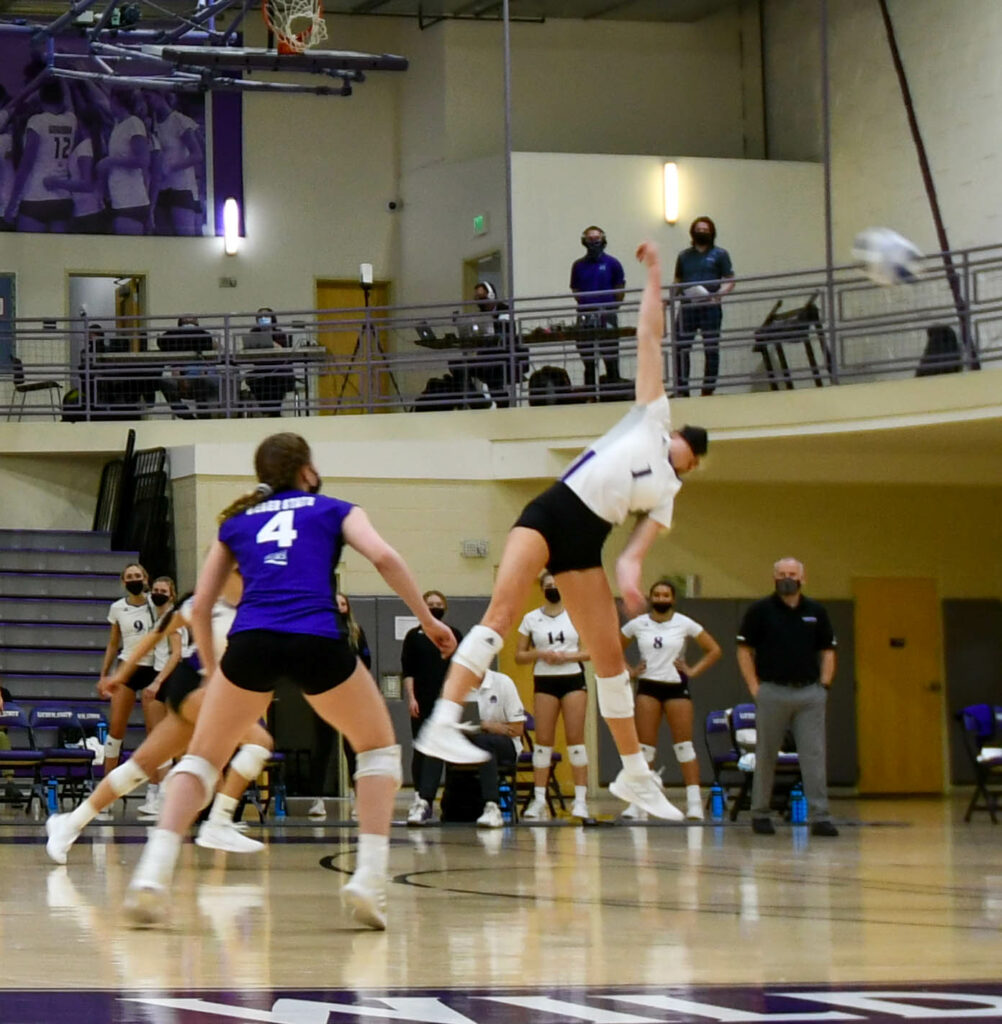 Rylin Adams, of Weber State women's volleyball team, jumps for a hit during the second game against Southern Utah University on Friday. (Nikki Dorber / The Signpost)
