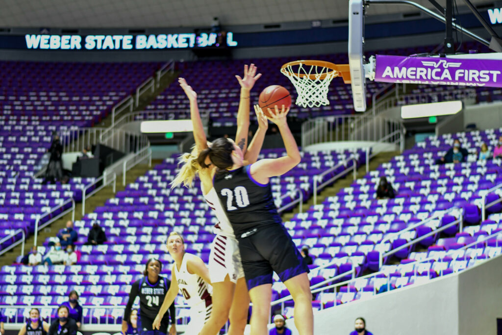 Vicky Parra, a forward for Weber State's Lady Wildcats, shoots a two point basket during Saturday's game against Montana's Griz.  (Nikki Dorber / The Signpost)