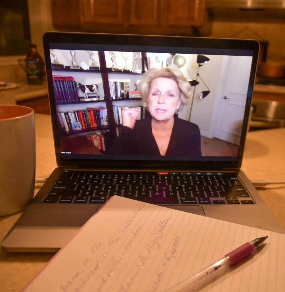 Mary Mapes, American journalist, partner to Dan Rather and producer for 60 Minutes visits with attendees via Zoom.  Mary shares stories, experiences and thoughts about becoming a journalist.  (Nikki Dorber / The Signpost)