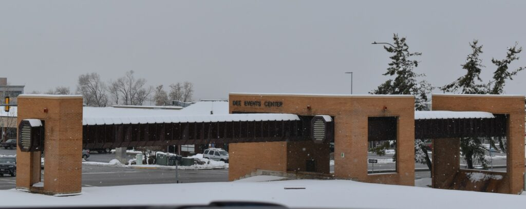 The marquee at the Dee Events Center at Weber State University is set to be demolished in March. (Paige McKinnon/The Signpost)
