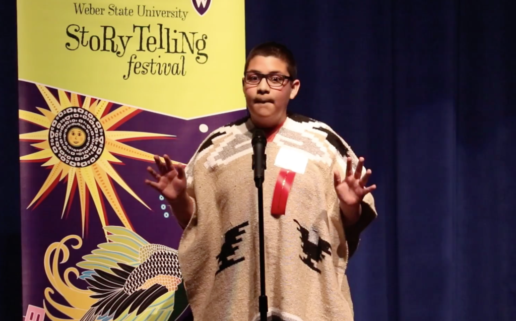 Gerardo, a local elementary student, performs a fable called La Llorona at Weber State's Storytelling Festival. Weber State's storytelling festival started Feb. 22 and will go until March 18. (The Signpost/ Sarah Earnshaw)