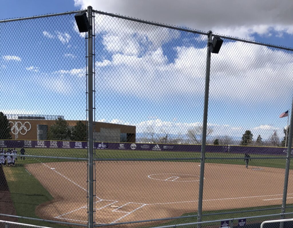 The sun shining down on Wildcat Softball Field minutes before Weber State and Utah State take the field on March 24 in Ogden.