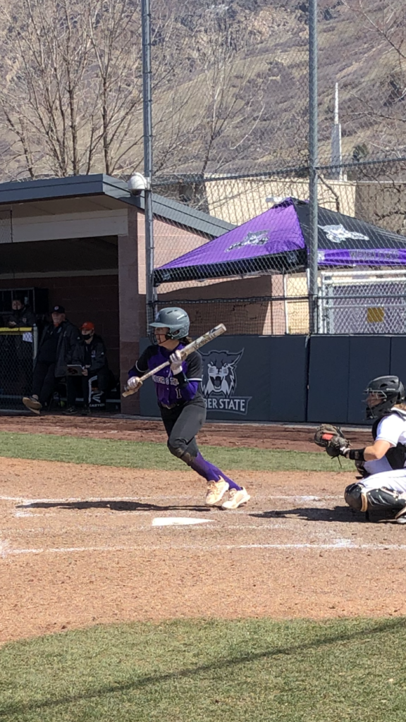 Wildcat right-fielder Mia Rushton prepares to bunt off the ISU pitch on March 28 at Wildcat Softball Field.