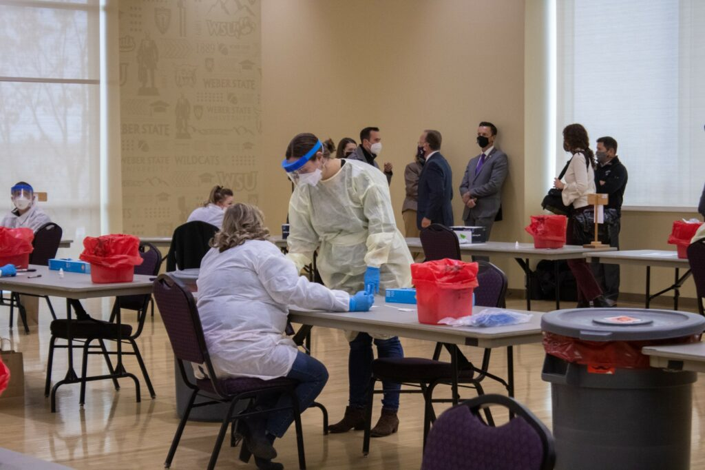 COVID-19 tests are administered and tested at Weber State University on Nov. 10, 2020. (BriElle Harker / The Signpost)