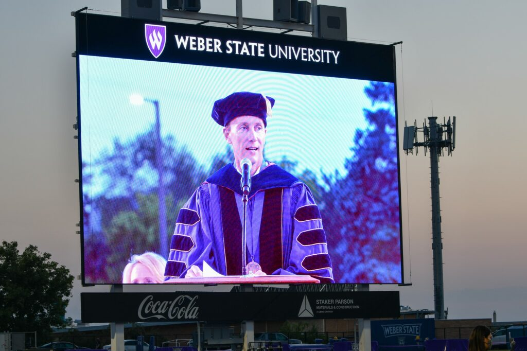 President Mortenson gives words of praise at WSU's 2020 Graduation, which consists of both in person and virtual speakers. (Nikki Dorber / The Signpost)