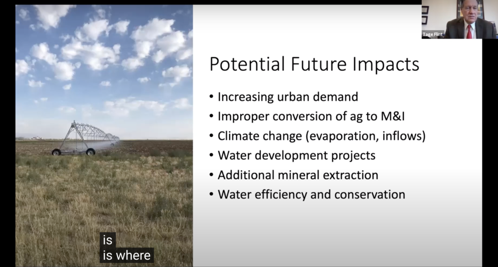 Tage Flint, the general manager/CEO of the Weber Basin Water Conservancy District, discusses possible impacts that will change the future of The Great Salt Lake in a Zoom Forum about the drying of the lake. (Sarah Earnshaw/ The Signpost)