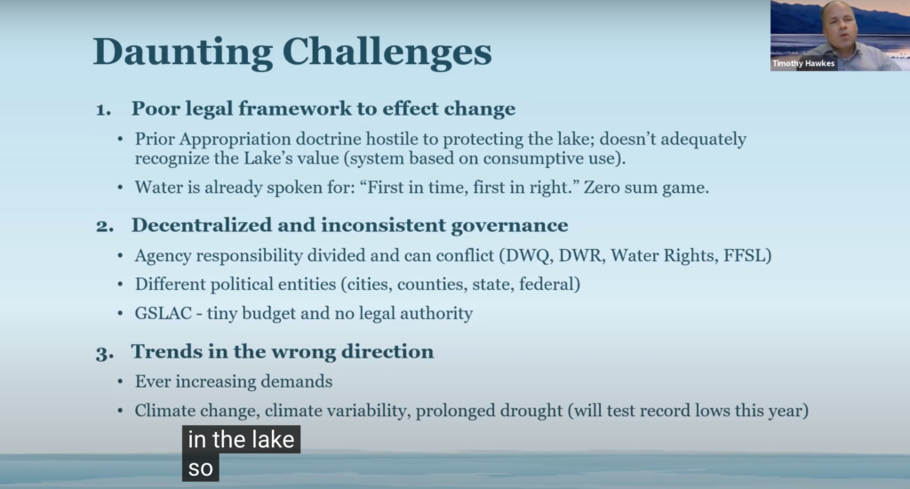 """18th District Utah House Rep. Tim Hawkes, discusses the """"daunting challenges"""" facing the Great Salt Lake. Lake officials are concerned with water levels going down, the population increase and climate change are having a drastic negative effect to the lake. (Sarah Earnshaw/ The Signpost)"""