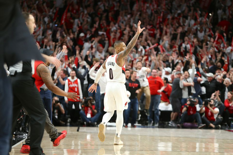 Damian Lillard knocks down the game-winning three-pointer to lift the Portland Trail Blazers past the Oklahoma City Thunder, 118-115, in Game five of their first-round playoff series on Tuesday, April 23, 2019 at Moda Center. The Blazers won the series 4-1.