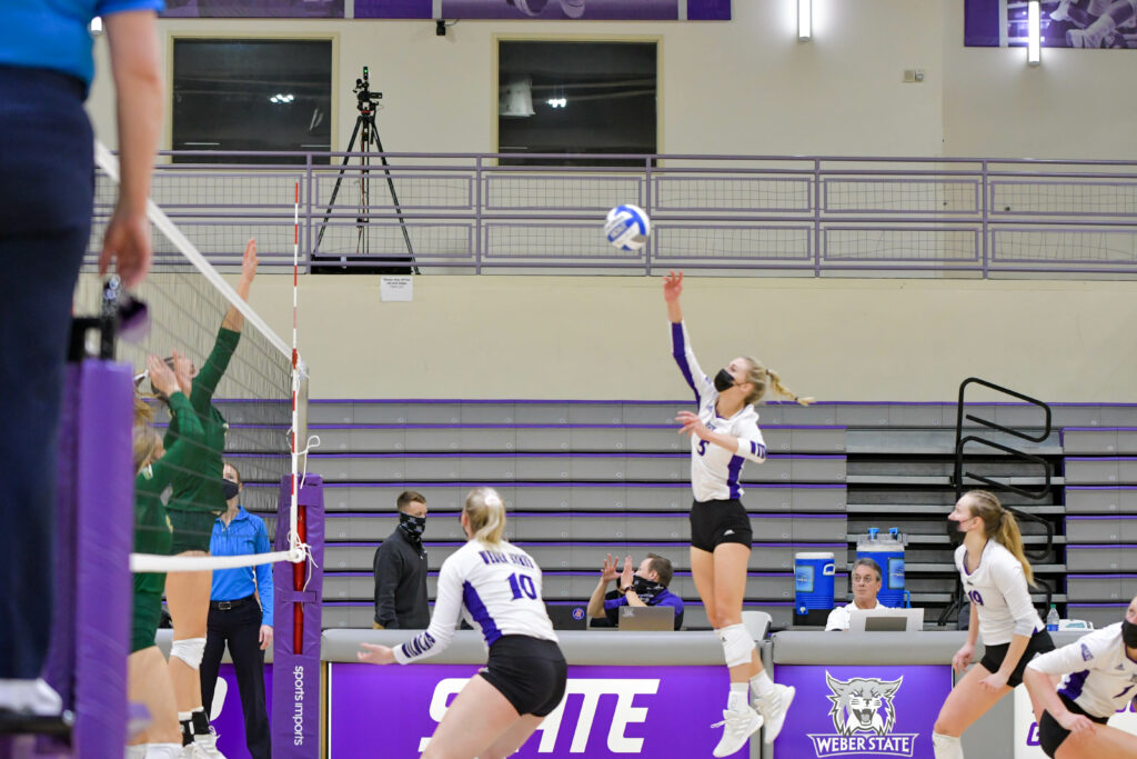 Weber State Volleyball wins Saturday's game against Sacramento, giving the Lady Wildcats a 10-game winning streak for the first time since 1988.. Riley Weinert smacking the ball to Sacramento, contributing to the win. Nikki Dorber / The Signpost