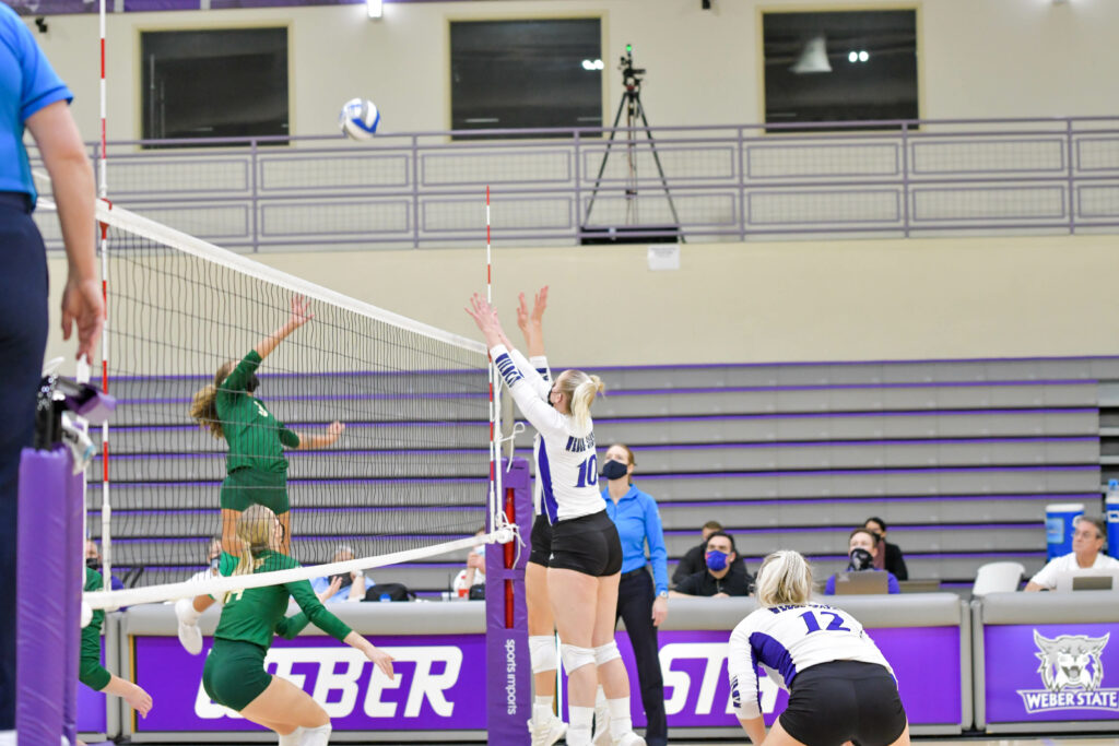 Weber State's Caroline Broadhead assisting in serving the ball to Sacramento. Weber State is on a 10-game winning streak as of Saturday, breaking the previous record of 9 games in 2016.. Nikki Dorber / The Signpost