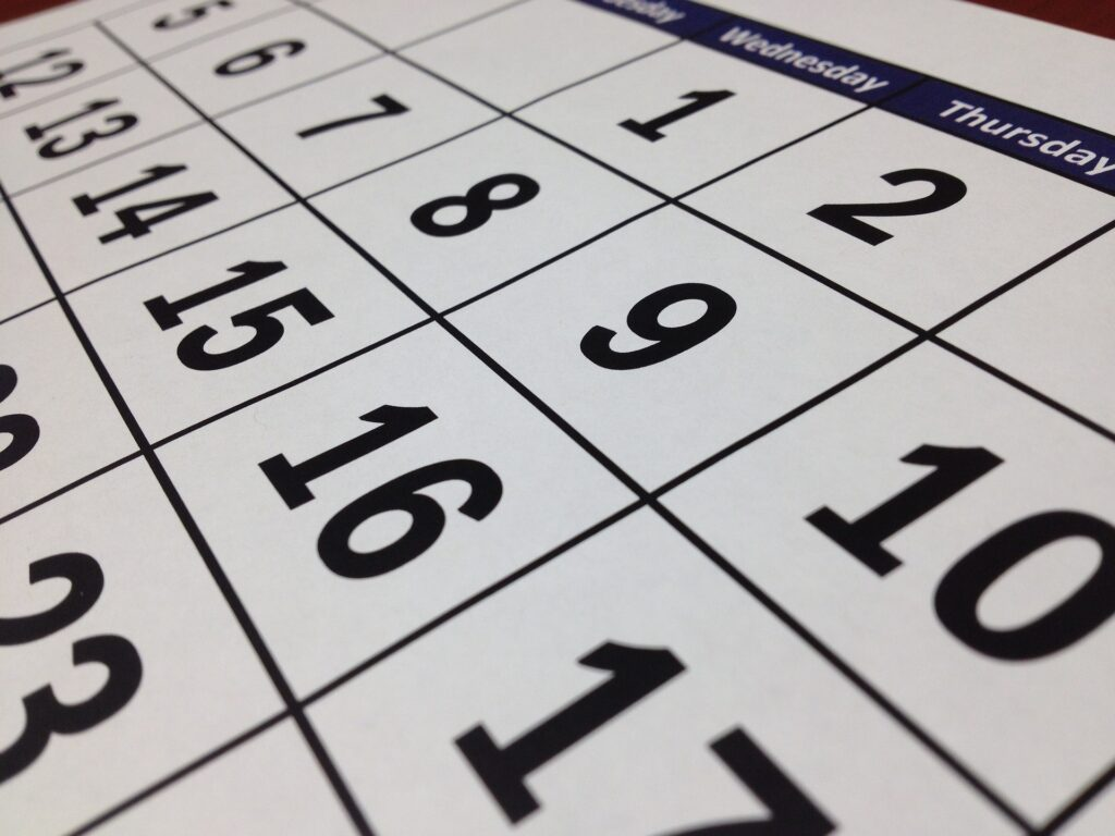 Calander and date photo from Pixabay