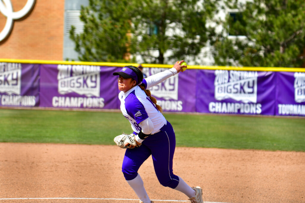 Mariah Ramirez (18) pitches for Weber State University's Women's Softball team on Saturday, March 27. (Nikki Dorber/The Signpost)