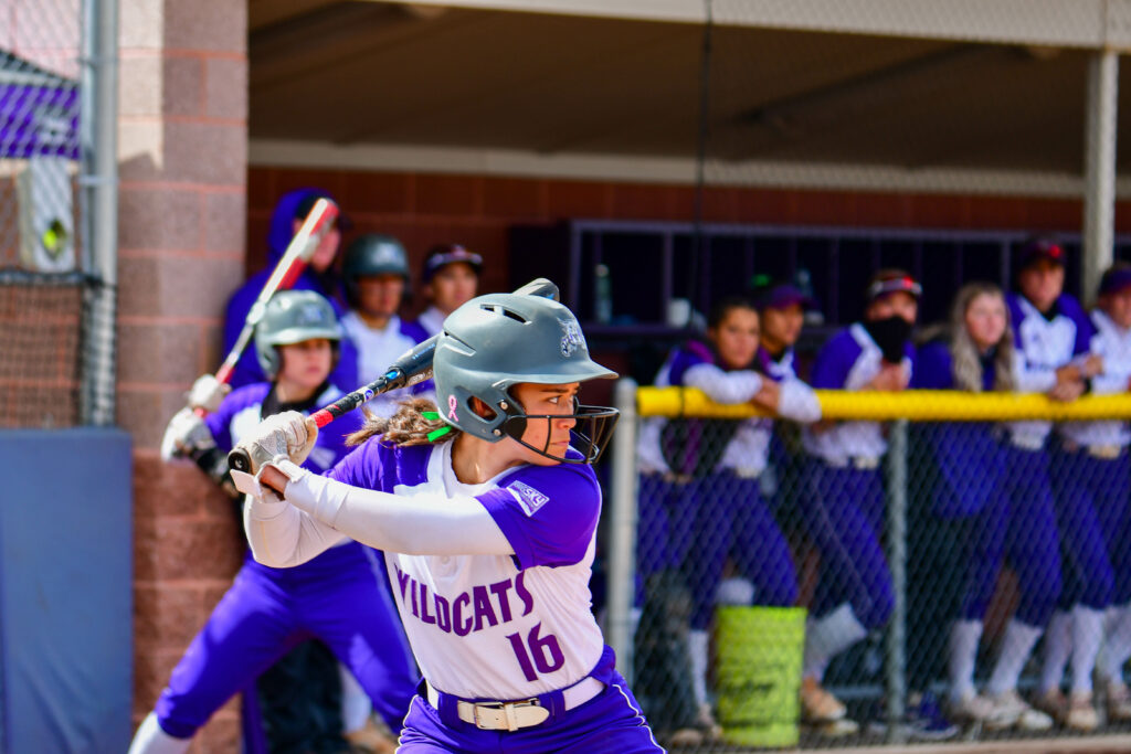 Chloe Camarero (16) is up to bat during the game on Saturday, March 27 against Idaho State. (Nikki Dorber/The Signpost)