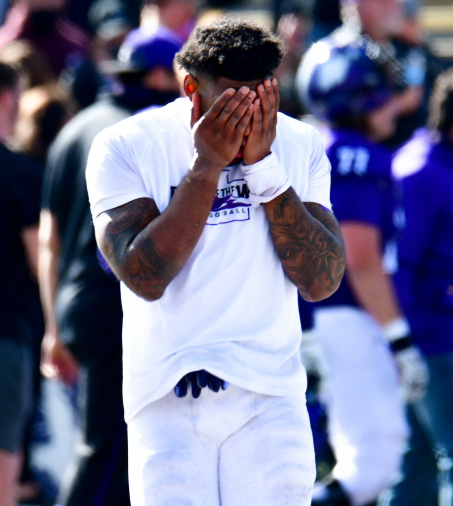 Weber State Universtiy's Desmond Williams overwhelmed with emotion due to their hard fought game against Northern Arizona on Saturday, March 27. Nikki Dorber/The Signpost