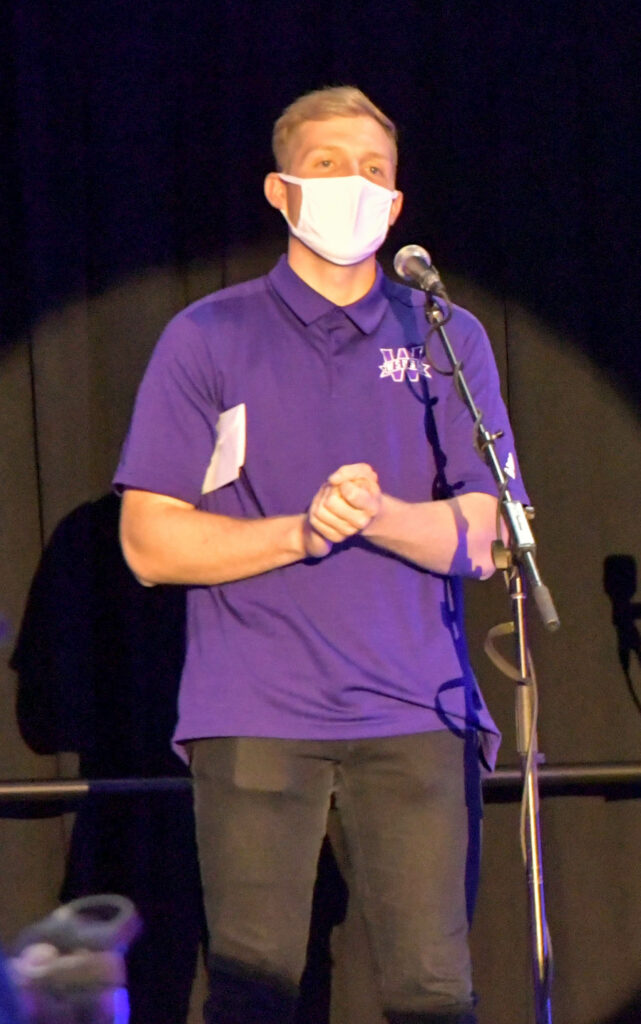 Weber State University introduces the 2021-2022 Student Body President, Ben Ferney, on March 5. (Nikki Dorber/The Signpost)