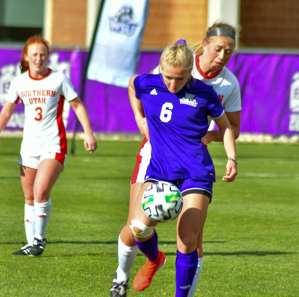 Weber State's Sadie Newsom dominates the ball in the game against Southern Utah on Friday, March 26 on Weber's soccer field. Nikki Dorber/The Signpost
