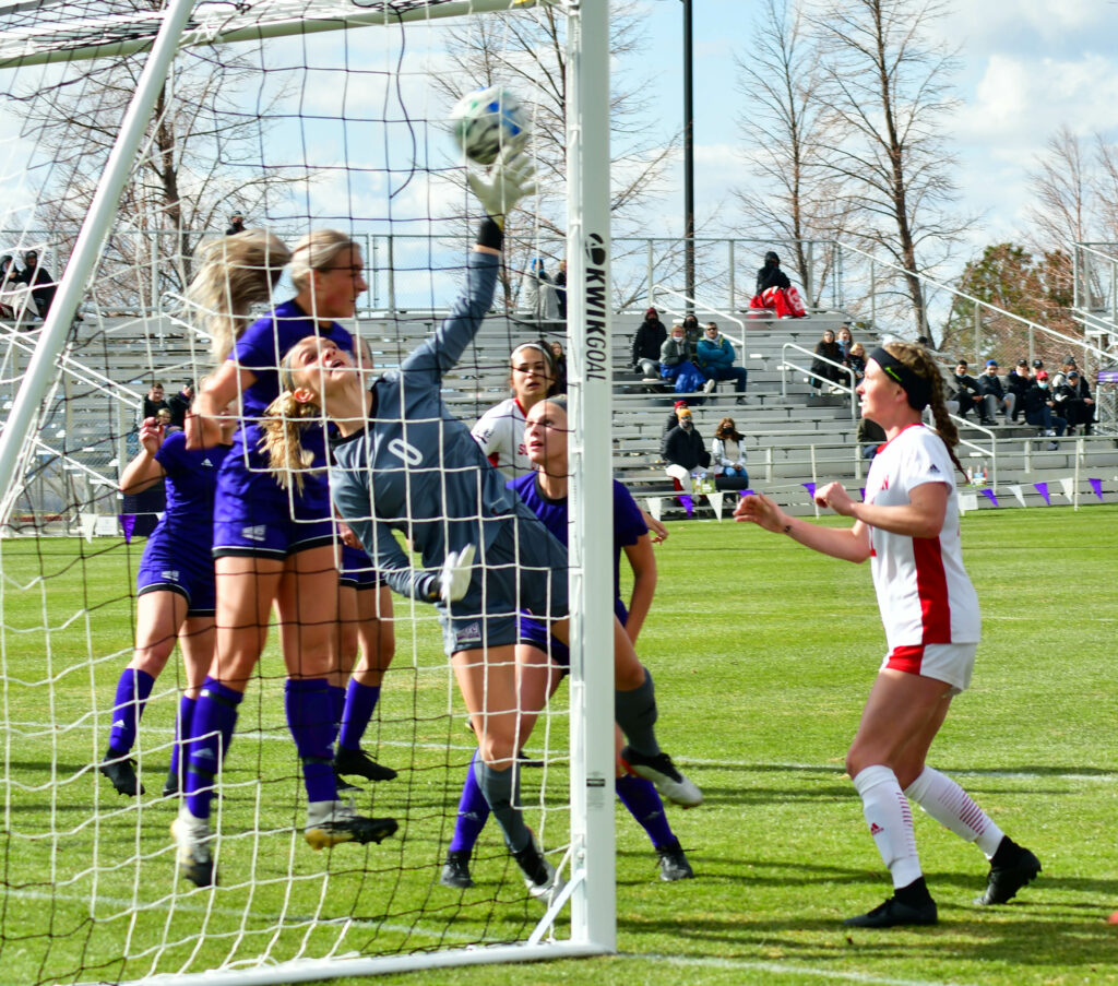 Weber State's goalkeeper springs into action, preventing Southern Utah from scoring at the game on Friday, March 26 on the Weber State soccer field. Nikki Dorber/The Signpost