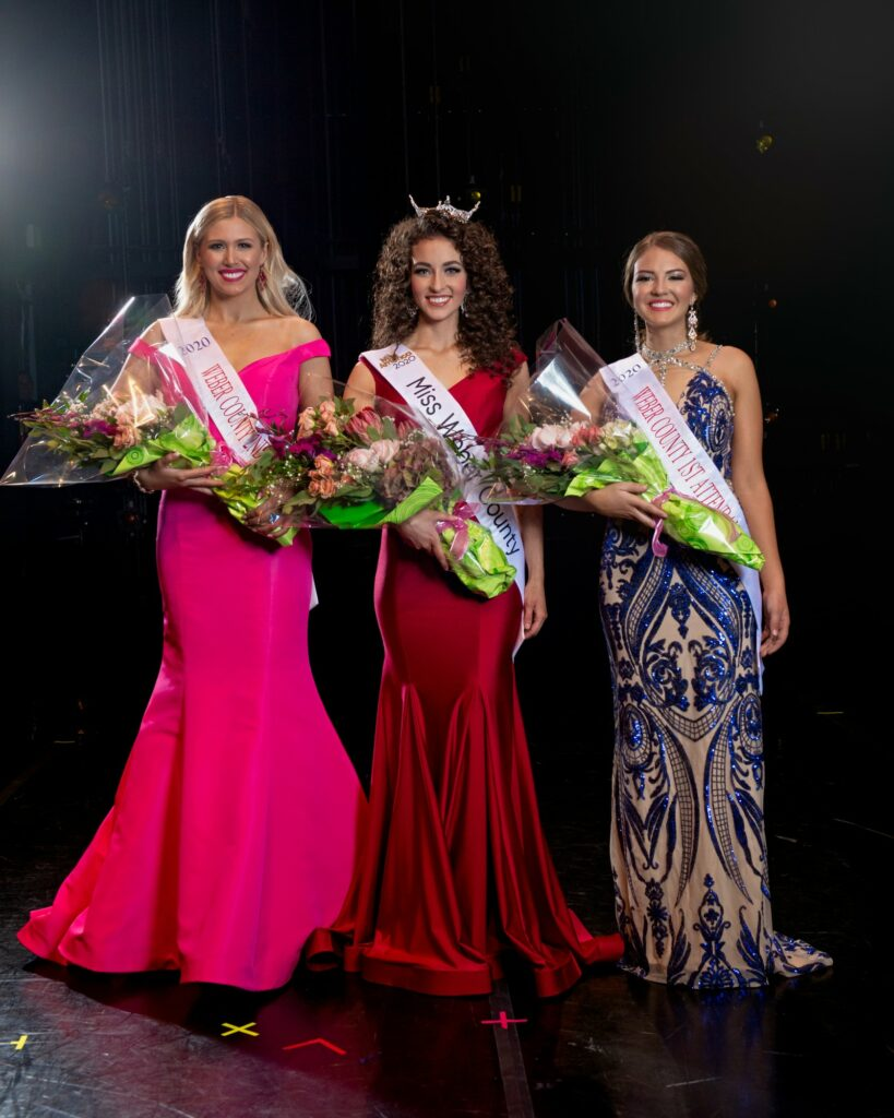 Abby Laing was crowned Miss Weber County 2020 on Oct. 19, 2019, with First Attendant Kaylyn Payne and Second Attendant Kalley Murphy.