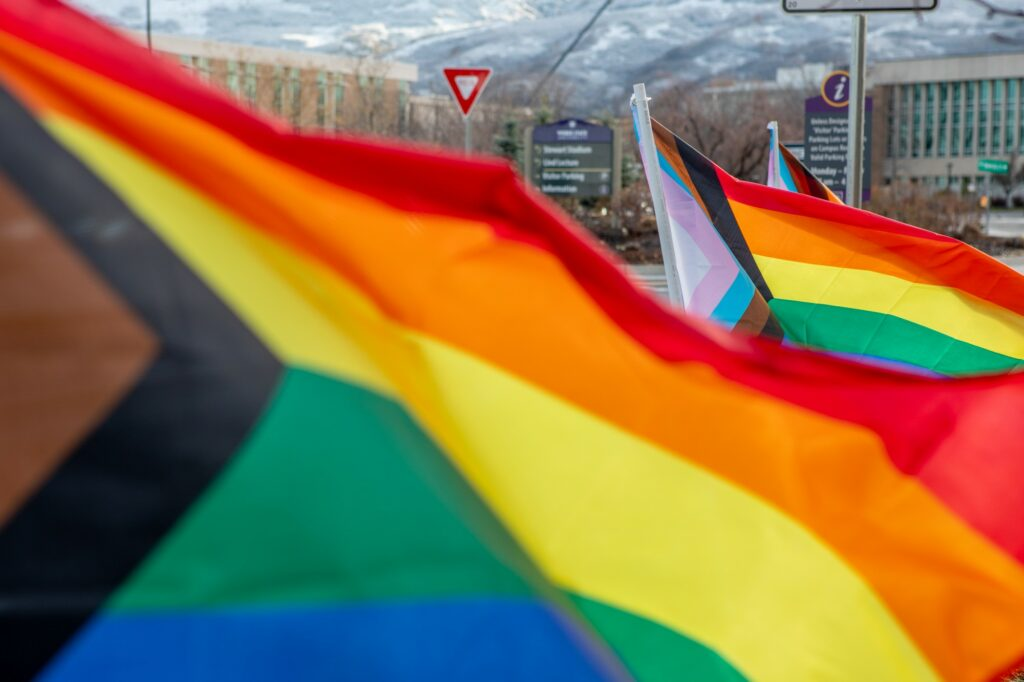 LGBTQ+ Pride flags line the entrances to Weber State University on March 26.