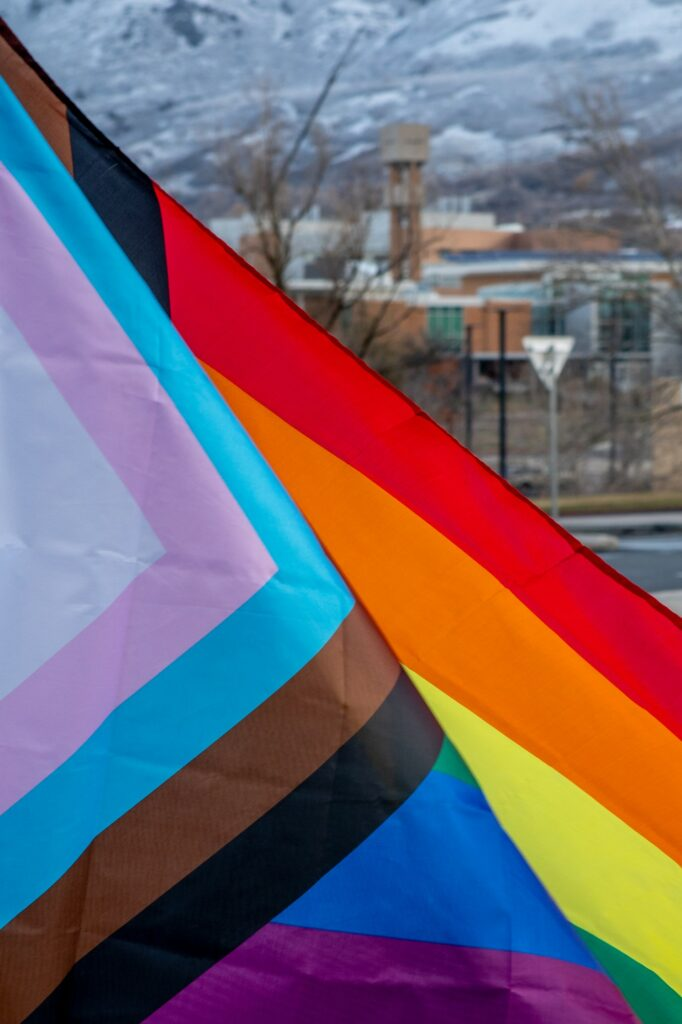 WSU put up the display of pride flags in support of the Ogden Encircle home's groundbreaking.