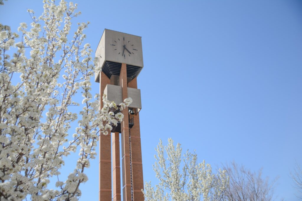 Near the Shephard Union building, with it's own plaza, stands the Weber State Bell Tower, Monday, Apr. 12, 2021 on Weber State University Campus. (Brooklynn Kilgore/The Signpost)
