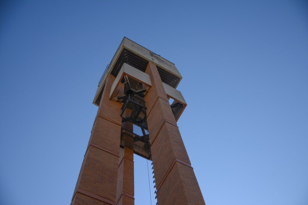 The view from the underside of the Weber State Bell Tower, Monday, Apr. 12, 2021 on Weber State University Campus. (Brooklynn Kilgore/The Signpost)
