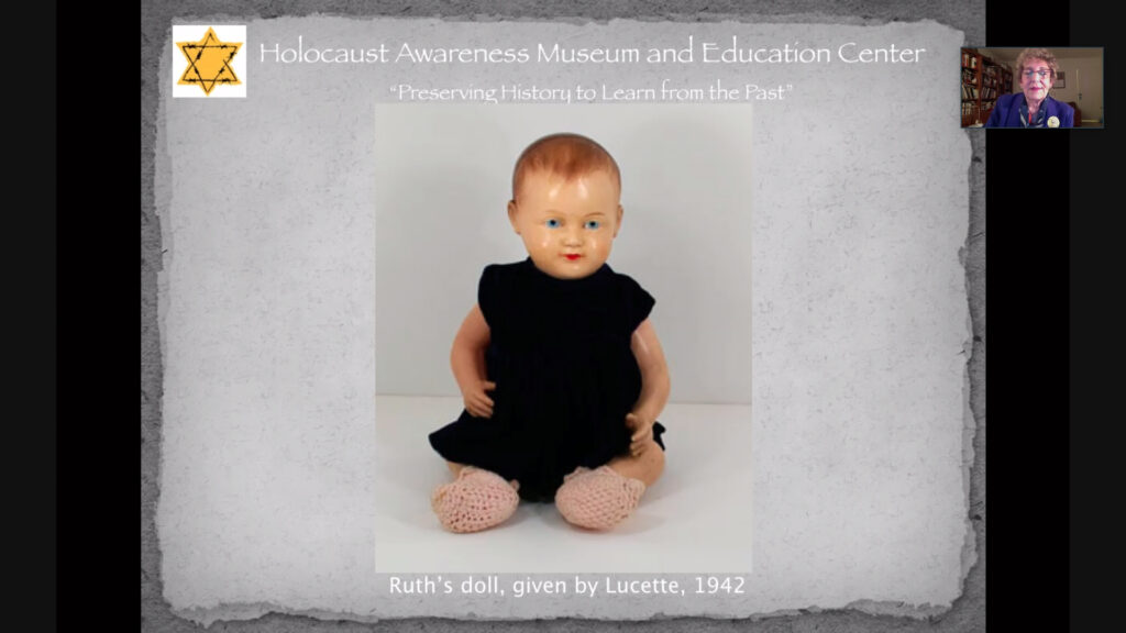 Ruth Kapp Hartz recalls the only toy from her childhood during the war. Her doll, which she tried to offer to her rescuers in exchange for food, now resides in the Holocause Awareness Museum, Thursday, April 8th, 2021. (Brooklynn Kilgore/The Signpost)