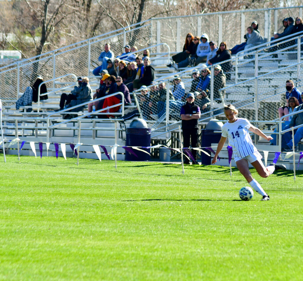 Cambrie Lake, 14, charges the goal for the Lady Wildcats (Nikki Dorber/The Signpost)