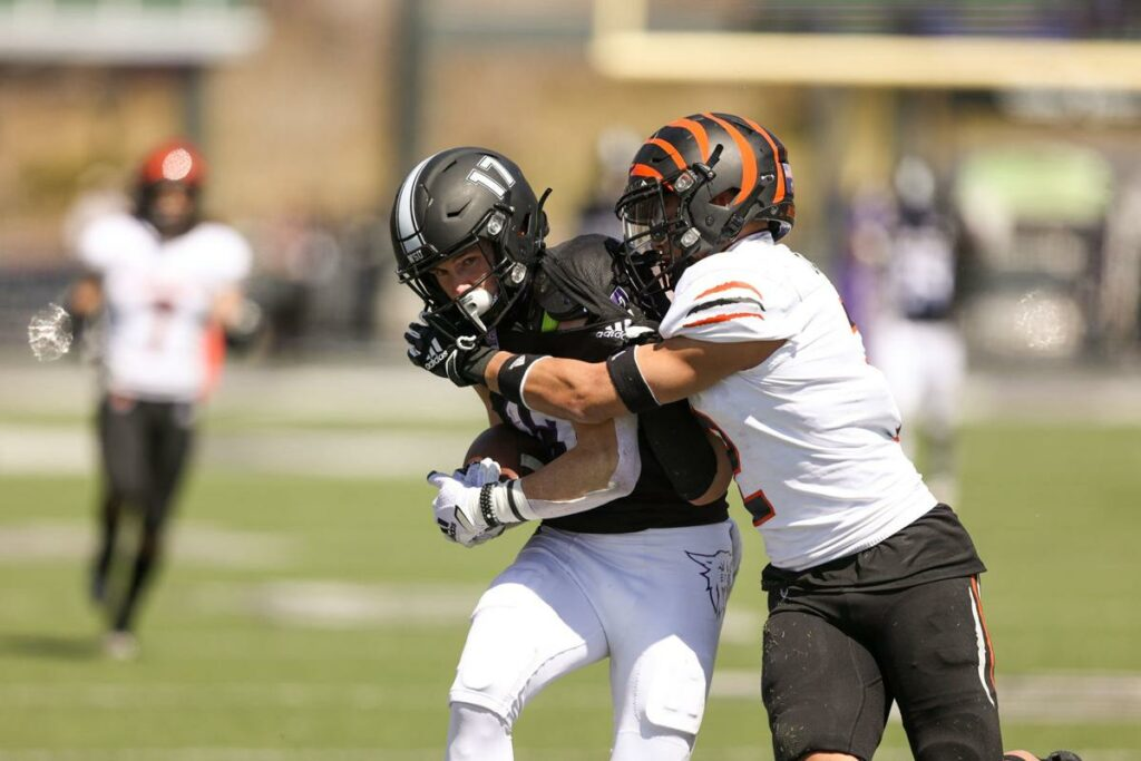 WSU fends off the Idaho State Bengals on April 10, 2021, allowing them to win 20-15. (Robert Casey / Weber State Athletics)