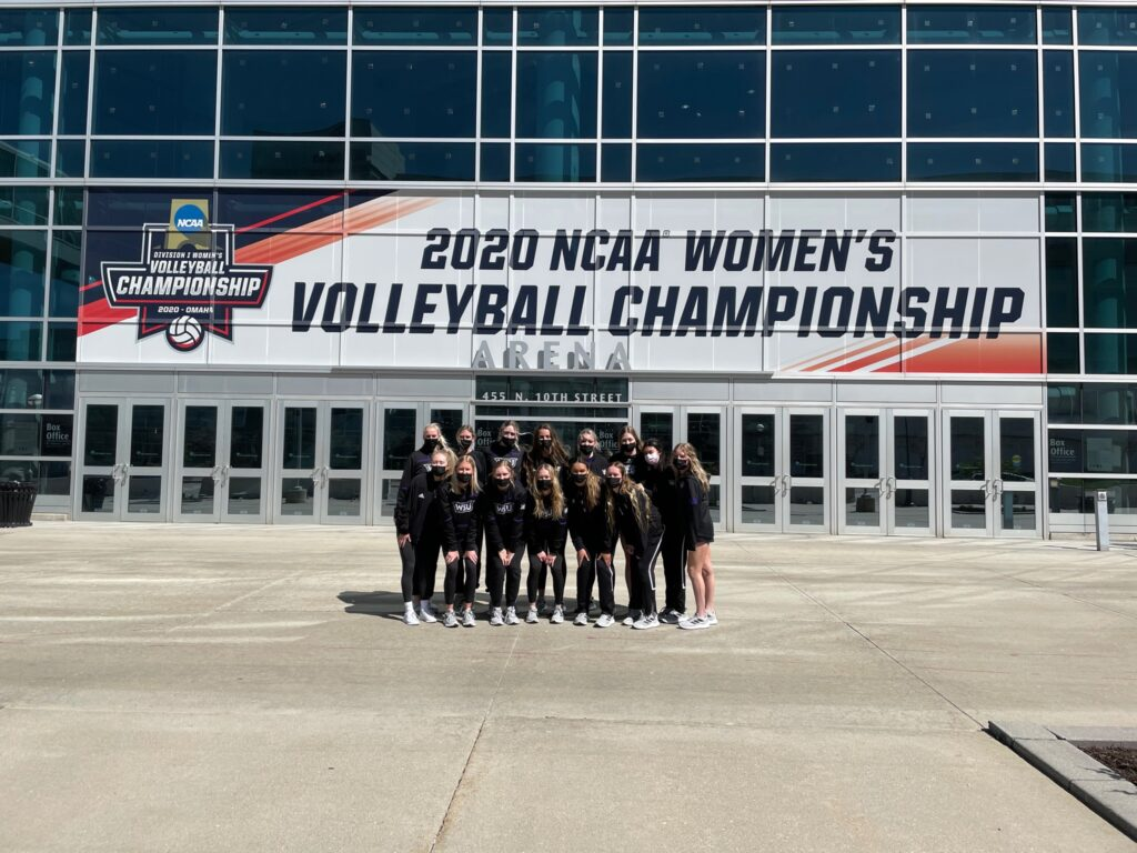 The Weber State's volleyball team group together in excitement to participate in the NCAA Women's Volleyball Championship.