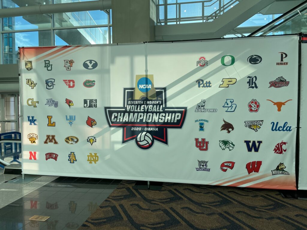 A photo of the banner showcasing all the teams participating in the Division I Women's Volleyball Championship. (Weber State Volleyball)