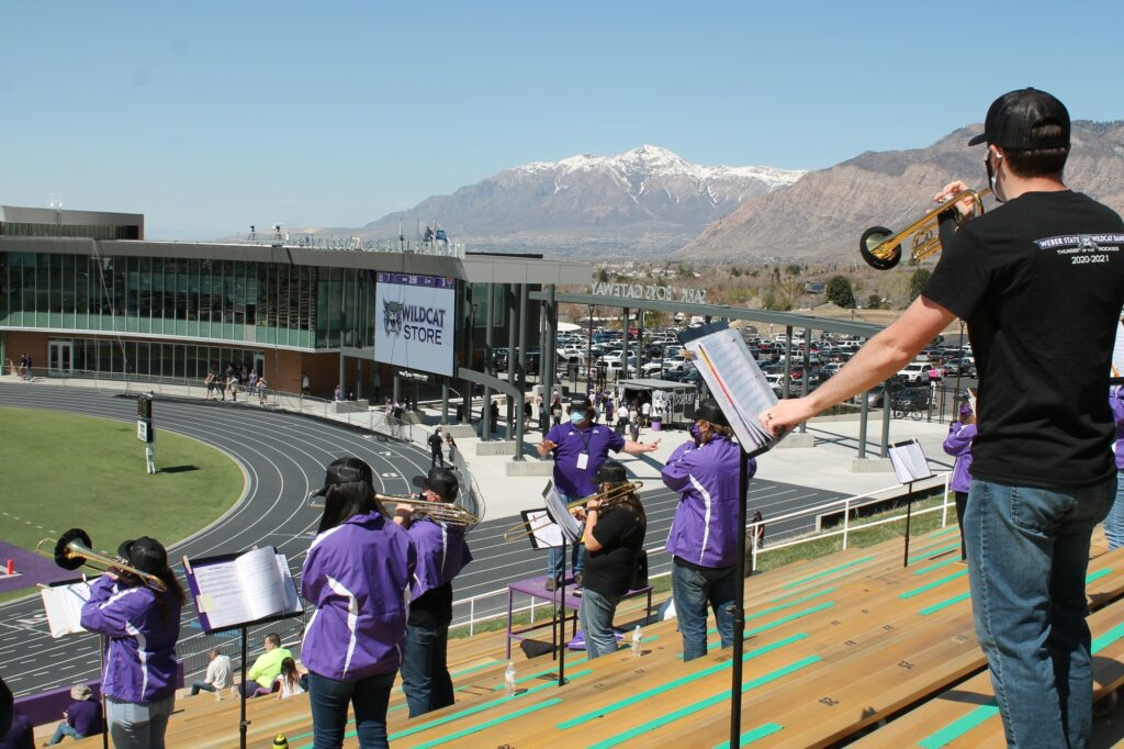 Weber States band cheered on the football team vs Idaho State for the first time this season on April 10, 2021. (Robert Casey / Weber State Athletics)