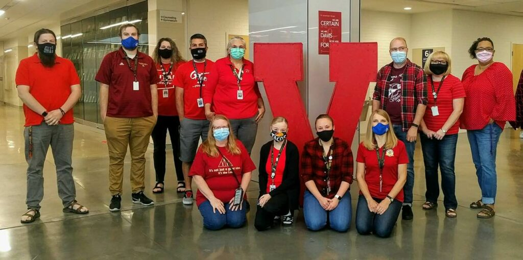Teachers at Viewmont High School wear red together at the beginning of the public school year to show solidarity with one another.
