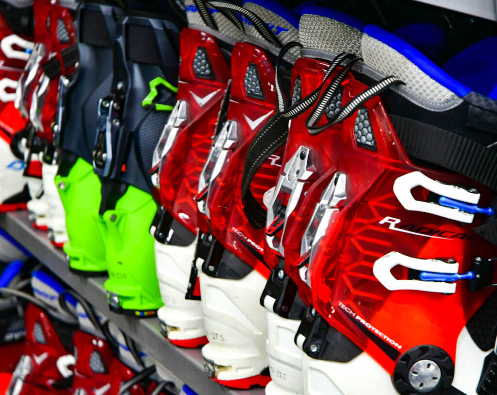 Ski boots are included as part of the ski rental package available at the Outdoor Adenture Office on Weber State's Ogden campus. (Nikki Dorber/The Signpost)