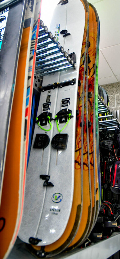 Snowboards are available for rent from the outdoor rental program at Weber State University. (Nikki Dorber/The Signpost)